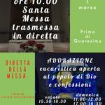 Domenica 1 marzo: Santa Messa ore 10 in diretta Instagram e Youtube