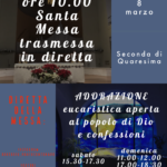 Domenica 8 marzo: Santa Messa ore 10 in diretta Instagram e Youtube
